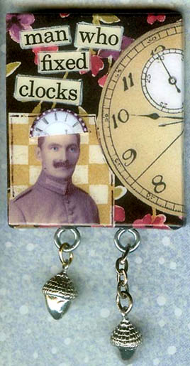 Collage Pin 'Clock Man'
