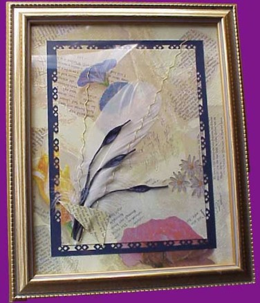 Janet Wilson/Napkin feather collage