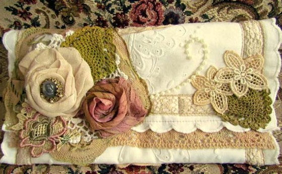 Shabby Chic Roses and Lace Clutch