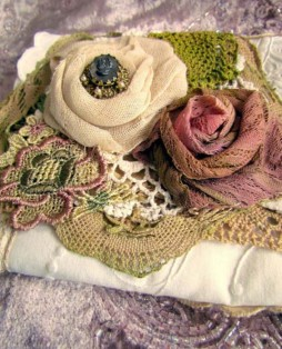 Shabby Chic Roses and Lace Clutch, Detail