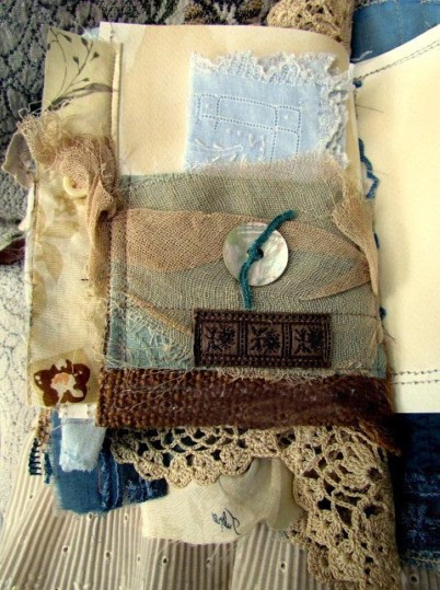 Shabby Chic Vintage Lace and Fabric Journal. Detail Back
