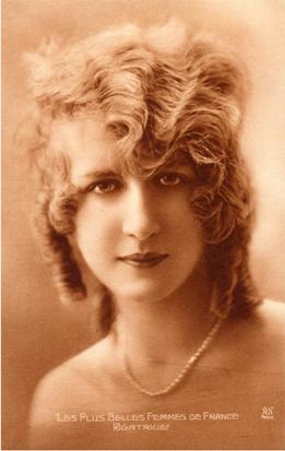 Vintage postcard lady
