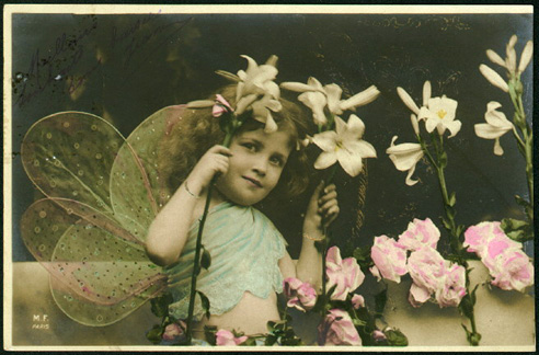 Vintage images children fairy girl