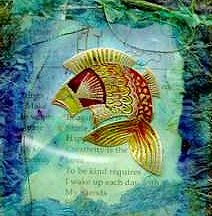 fish embossed in gold on acetate and painted with glass paints, then set into coloured tissue papier mache