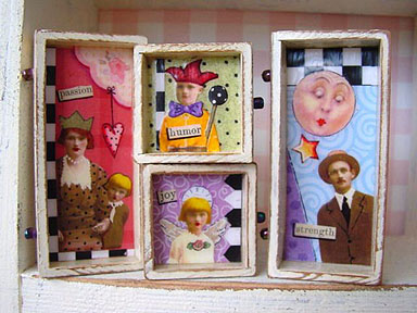 'Collaged doll dresser',