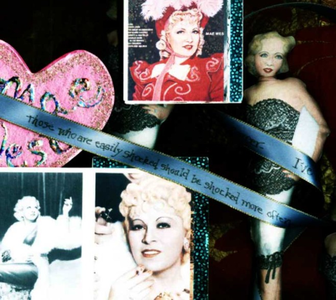 Sylvia Kleindinst, Mae West Homage Dolls, ticker tape box and accordion book