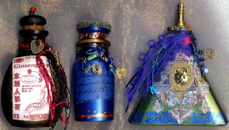 Lyn Klauzer, Ginseng 5 ins high, Blue wired bottle 4 ins, Egyptian bottle 5 ins high