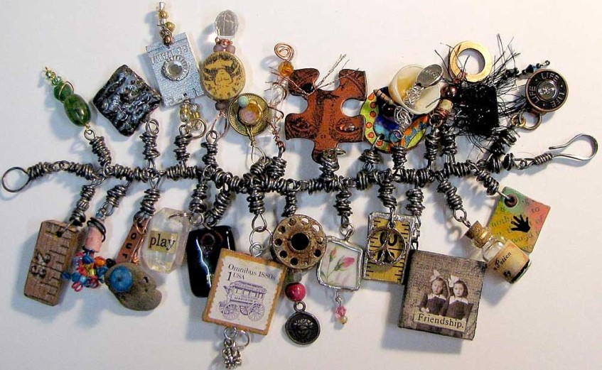 Ro Bruhn's bracelet with charms from Dawn Sellers swap