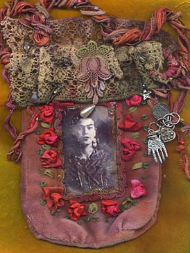 Frida Purse, hand dyed velvet lace and fibres