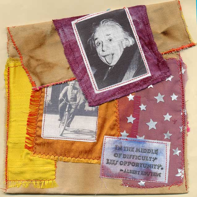 Bobby Besley, Einstein Bag,fabric collage bag