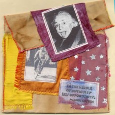 Bobby Besley, Einstein Bag, fabric collage bag