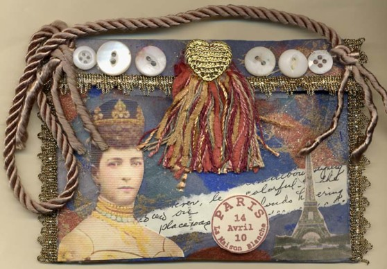 Nancy Hunt Bartek, collage purse with decorated paper pin