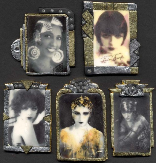 Gillian Allen, Art Deco Frames made from polymer clay with Liquid Sculpey photo transfers
