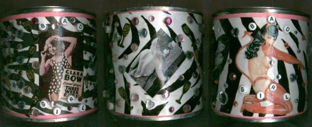 Pilar Pollock, decorated tins containing rose scented bath salts