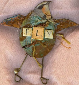 Mixed media Birds:Fly