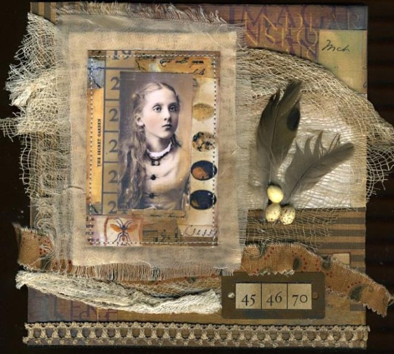 Fabric and Mixed Media Collage Vintage Canvas