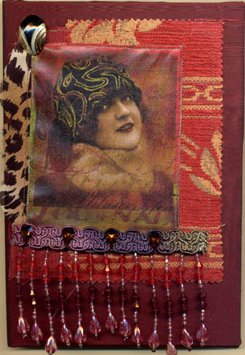 Fabric collaged Journal Cover