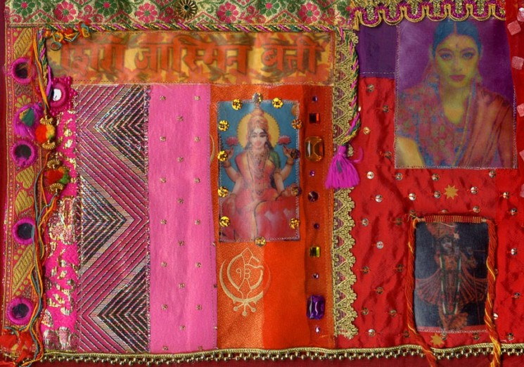Gillain Allen UK. Fabric collage, book cover