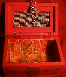 Sylvia Mahony CA, decorated wooden Indian box, inside