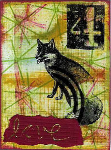 Fox: ATC is cs with stamped background, stamped transparency collage pieces and word gold foiled on red cs