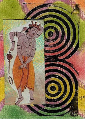 Lotus ATC:Chalk and metallic pen background. Stamped transparency. DTP on glossy cs w/collaged figure from somewhere.