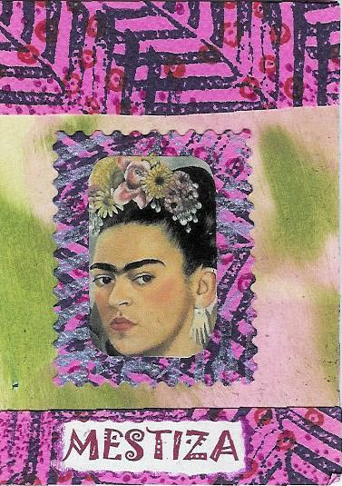 Mestiza. I ended up making a t-shirt out of this using the worst, cheapest iron-on transfer ever made. I did it on an olive green shirt to cover up a stain.The cheapness of the transfer makes it look very washed out. I get nothing but compliments when I wear it.