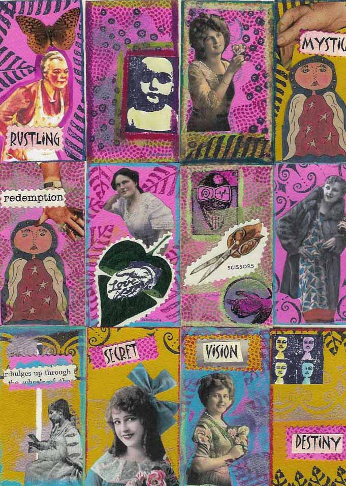 Rustling. I scanned these as a group, so I don't know if it will work. This was for a Business Card Swap that Bernie Berlin did through Arts Erratica, I think? I didn't really understand the assignment--or I just interpreted itdifferently. I did an original for each piece. I think people thought mine were strange. I liked them.