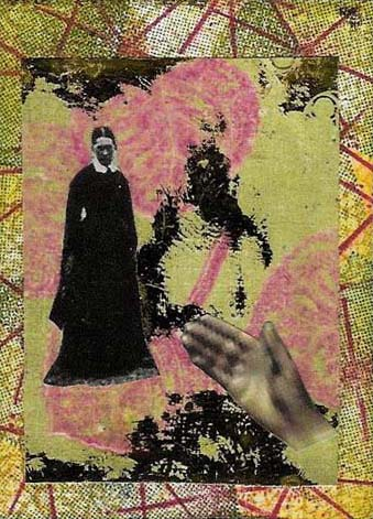 Woman Hand ATC: Stamped and DTP background. Woman and blurry hand collaged on stamped and gold foiled cs background.