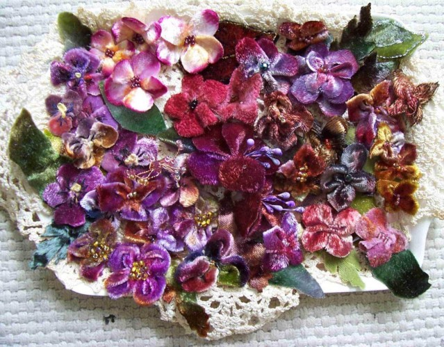 tray of velvet blooms