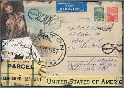 "Mail art: collage using ephemera, stamps, bits & pieces. Hand-stamp ""Linton"" postmark by Scrappindipity."