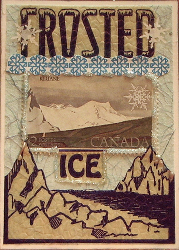 "Frosted Ice ATC. I started with some of my favorite paper - this icy blue handmade. It just so happened that the glaciers from this 1950's ice cream wrapper fit perfectly, so I cut that part out and put it on the bottom. the ""Frosted"" and ""Ice"" are part of the same wrapper. The Canadian stamp is what inspired the whole card in the first place, and the snowflake border is actually the lining of an envelope (I do accounts receivable at my job, so I get a LOT of envelope interiors!). :D I embellished the stamp with some baby blue Stickles and added some rub-on transfer snowflakes. You may not be able to see it in the picture, but I swiped the border with platinum and blue inks."