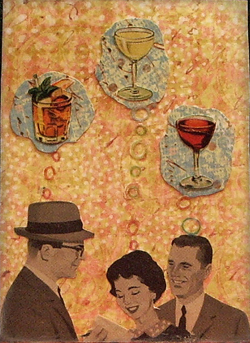 "Almost Happy Hour ATC. The people are from a 1960 Better Homes & Gardens magazine (from a ""Live Better - Electrically!"" ad). The background is just scrapbook paper, and so are the thought bubbles. The bubbles themselves are rub-ons, and the drinks are from the vintage drink books. I used baby blue pigment ink around the edge to give it an ethereal quality."