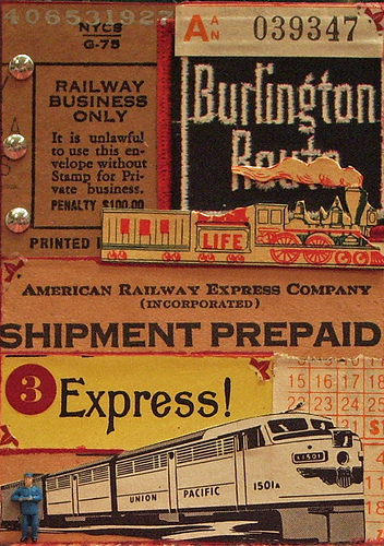"Express Route ATC. In a lot of my old magazines, there are these great stylized illustrations of diesel trains - and almost all of them are curved like this to show their speed. This one is from a Union Pacific ad, and along with it I added a very old bill of lading, a ""Burlington Route"" sticker, a time schedule, a vintage ""Express!"" label from Europe, some rub-ons, some iron-on tack thingies, and a model railroad station attendant, waiting in case you have any questions."