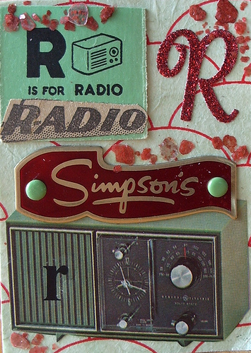 "R is for Radio ATC. I just won this 1971 Bennett catalog on Ebay - it's chock full of vintage photos and illustrations, and the radio is one of them! I've had the ""R is for Radio"" flash card for a while, and the vintage metal ""Simpson's"" radio tag. Then I remembered that I had a newspaper from the 20's, so I figured there'd be a radio ad in it. Sure enough! I added the other things after - the round eyelet brads, the mica flakes, the glittery ""R"", and the rub-on transfer ""r"". The background of the card is red & green chiyogami paper."