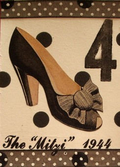 "The ""Mitzi"" ATC. Something about this shoe just screamed for some polka dots, so I used a b&w tissue paper and some sheer ribbon for that effect. Otherwise, I just stamped a letterpress ""4"" in the corner and used some rub-on letters, and that's it! :)"