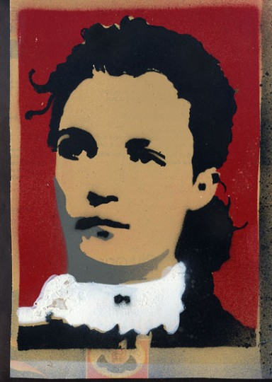 stencil with second layer in grey and masked red /white background
