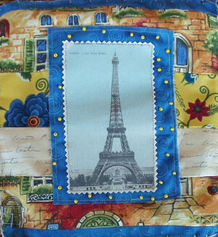 Fabric Quilt. Eiffel in blue