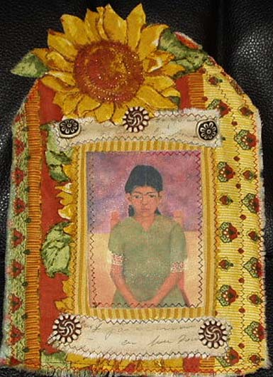 Fabric Quilt. Young Frida with flower