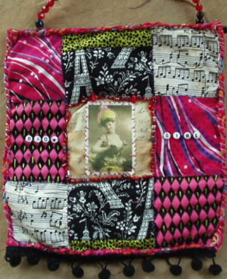Fabric Art Quilt . Bad Girl