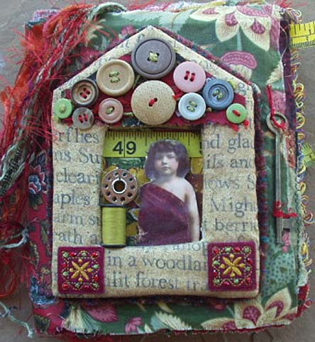 Fabric art quilt. A notion to sew