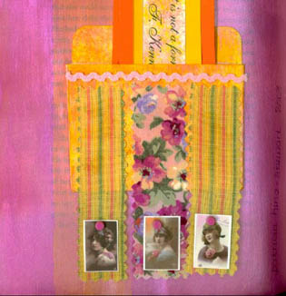 Patricia Stewart Fabric book altered page, detail