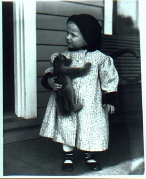 Karen O'Brien vintage photo, girl and bear