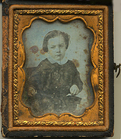 Small vintage tin type of boy, Lesli Serpas