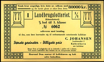 Vintage Ephemera sent in by Irene Cathrine.Kjaerstad, Lottery Ticket