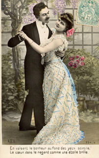 Vintage postcard sent in by Corinne Stubson, DanceCouple
