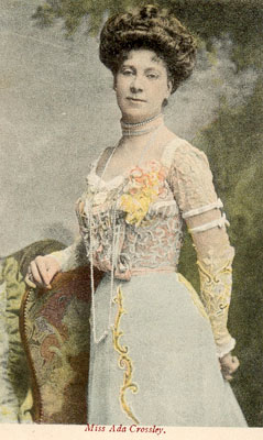 Vintage postcard, actress- lacy dress, sent in by Corinne Stubson,