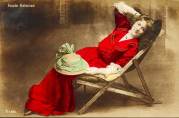 Vintage postcard, actress-red dress, sent in by Corinne Stubson,