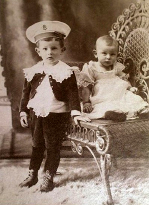 Vintage Photo, Sailor boy and baby