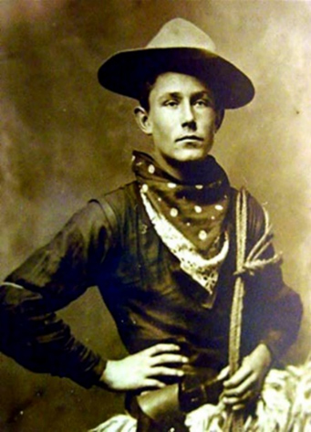 Antique Cabinet Photo, Cowboy with wooly chaps