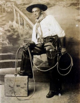 Vintage Photo, early Cowboy armed, rope and chaps